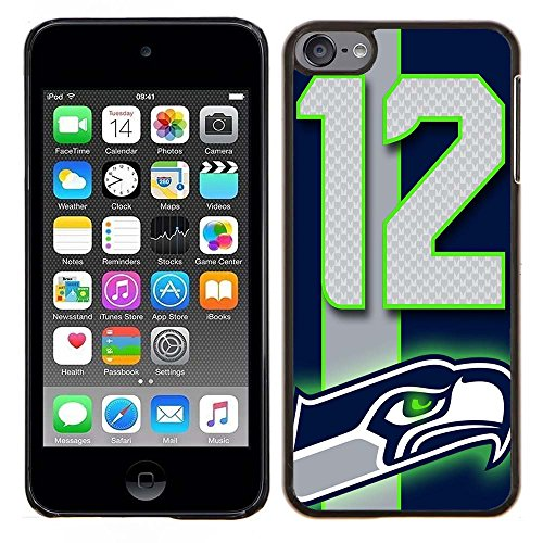 iPod Touch 5 Case, iPod Touch 6 Cases, Seahawks Logo 04 Drop Protection Never Fade Anti Slip Scratchproof Black Hard Plastic Case
