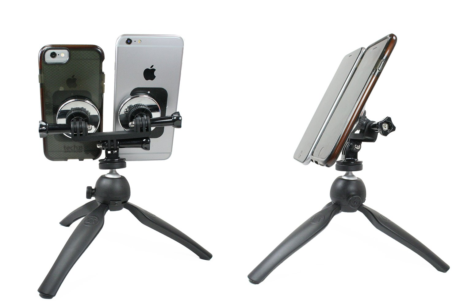 Livestream Gear to Fit Large Sized Devices Like iPhone 6 Plus Dual Phablet Tripod Setup for Live Stream or YouTube White Dual Tripod or Galaxy Note Also Works with Sport Cameras.
