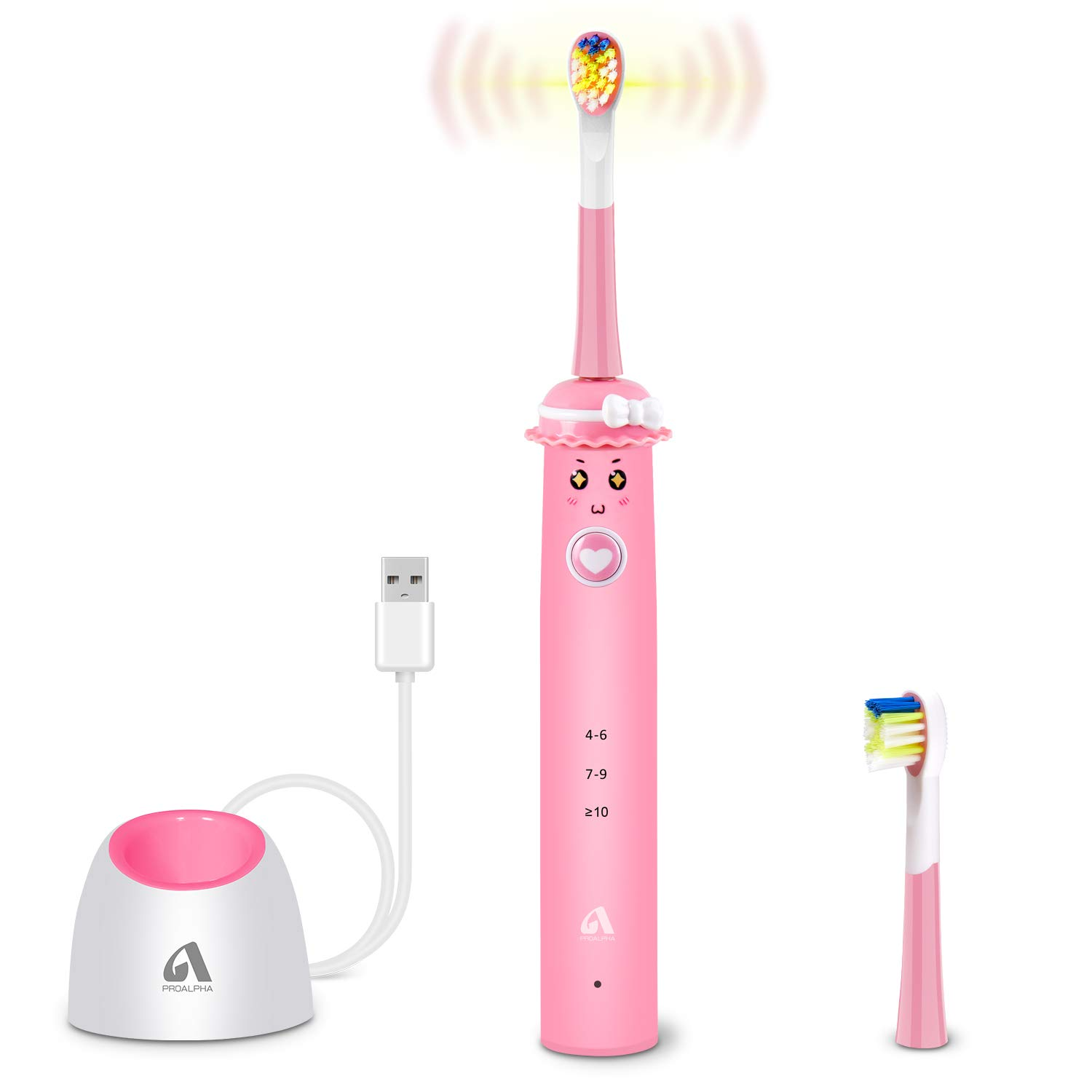 Sonic Whitening Kids Electric Toothbrushes, Wireless USB Rechargeable Toothbrush With 2 Reminder Heads, 3 Modes with Timer(Pink)