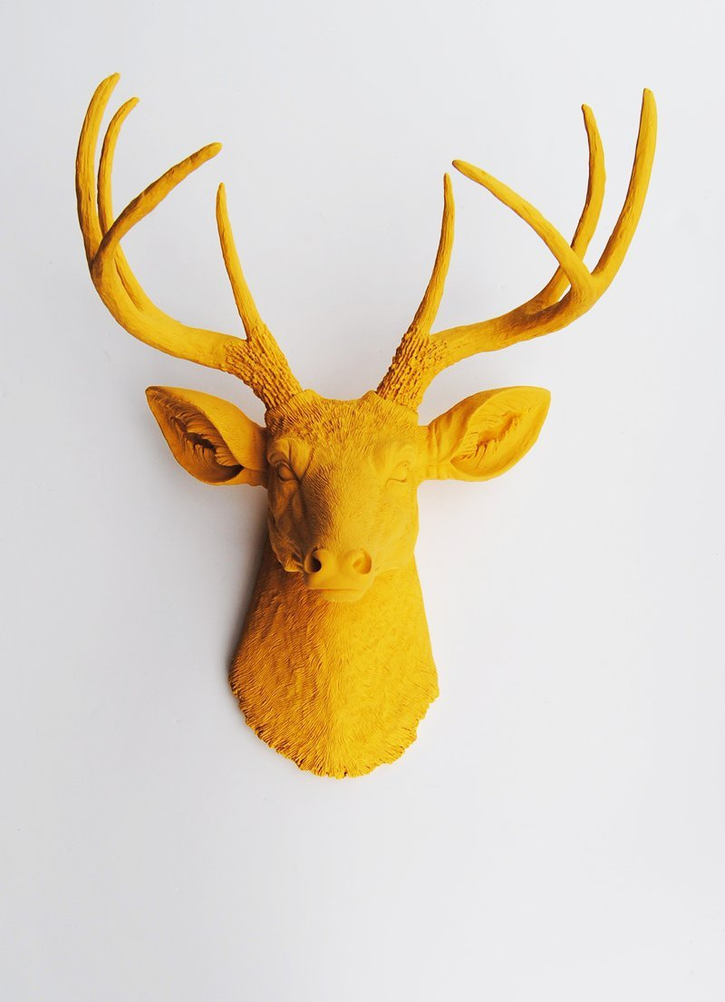 Amazon.com: The Victoria | Resin Deer Head | Mustard Yellow Deer ...