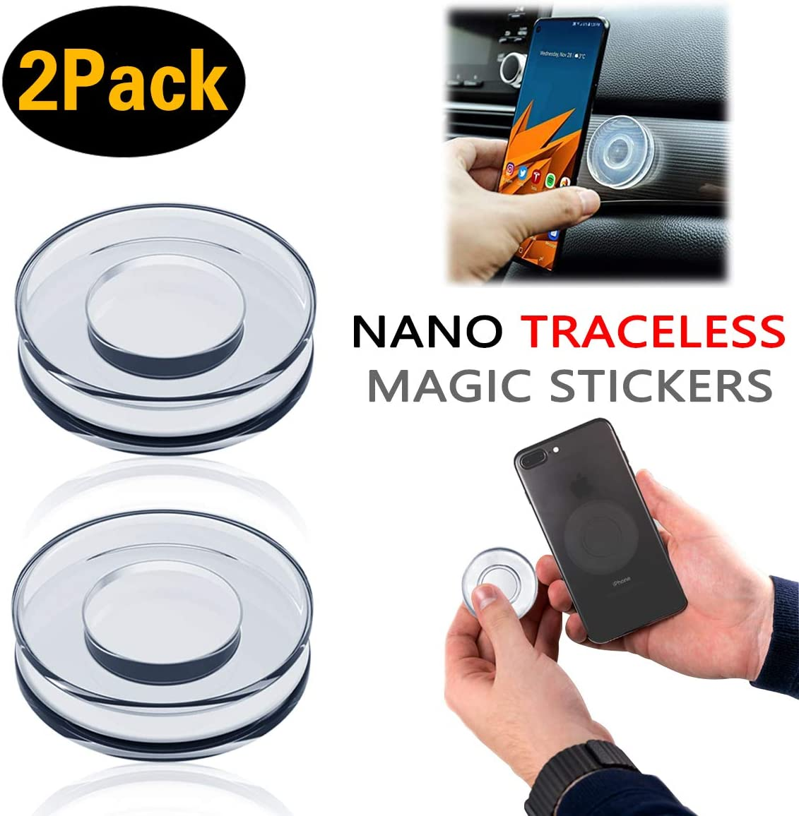4 Pieces PJLJY Nano Casual Paste Universal Sticky Car Phone Holder Nano Gel Pad Traceless Magic Sticker,Washable Multi-Functional,PU Materia Nano Magic Paste for Car,Office,Home Storage of Small Items