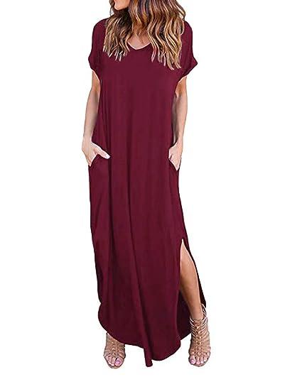 innovative design 8368f 981f6 Kidsform Vestiti Lunghi Estivi Donna Scollo a V Manica Corta Abito Casual  Loose Eleganti Maxi Vestiti con Tasca