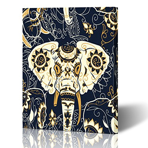Canvas Prints Wall Art for Living Room Day Dead Colorful Sugar Skull Indian Animals Wildlife Textures Elephant Flowers 12x16 Inches Painting Artwork Framed Stretched Decoration Ready to Hang]()