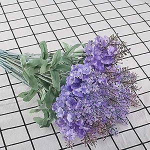 XYXCMOR Artificial Flowers 4 Bundle Lavender Plants Silk Flowers Arrangements Rustic Wedding Bouquet Decor for Vase Home Kitchen Garden Purple 3