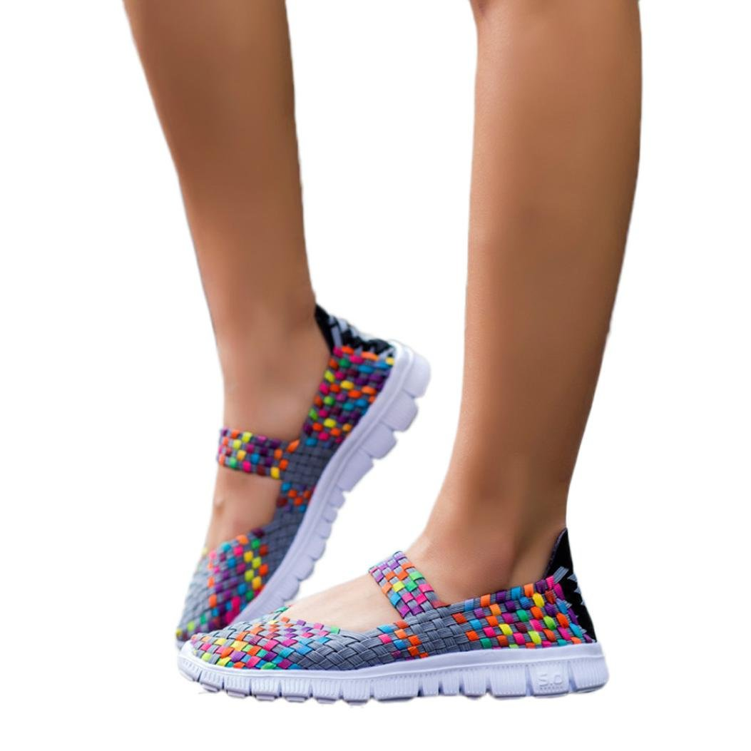 WuyiMC Soft Sole Casual Sports Shoes Lady Lightweight Slip On Breathable Flat Shoes Sandals (Gray, 8.5)
