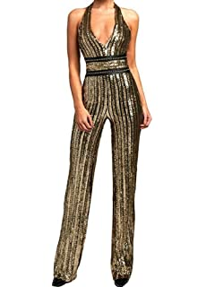 cd4075e6cae Miss ord Women s Deep-V Strapless Sleeveless Backless Playsuit Sequined  Jumpsuit
