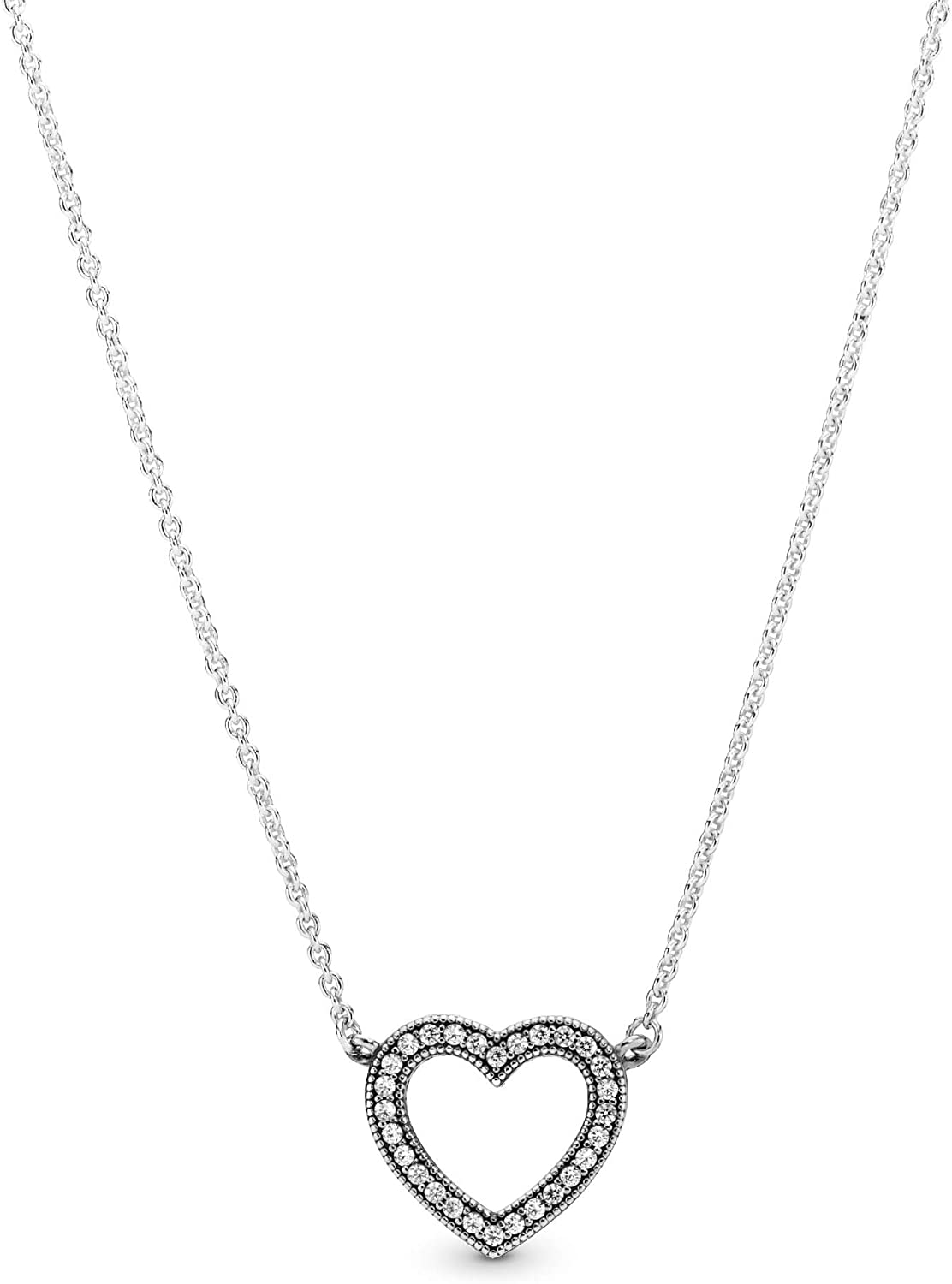 Amazon Com Pandora Jewelry Sparkling Open Heart Cubic Zirconia Necklace In Sterling Silver 17 7 Jewelry