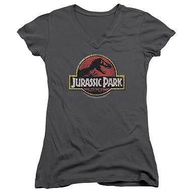 Jurassic Park - Camiseta - Manga Corta - Mujer Negro Gris Oscuro Medium