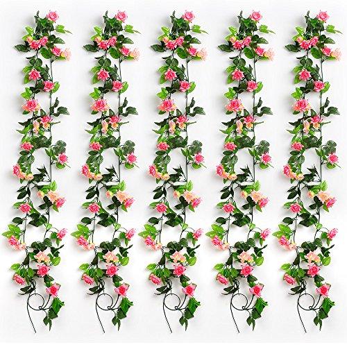 Yiliyajia Artificial Rose Vine Garlands,Silk Flowers Flora Green Leaf Garlands,Home Decor Wedding Decoration 8Ft Length Pack of 5 (pink)