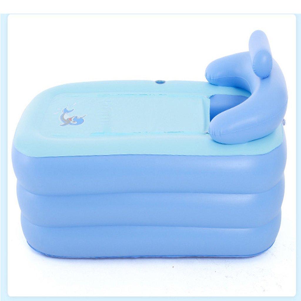 Bathtubs Freestanding Thickening Inflatable Inflatable tubing Home Adult Folding Bath tub Children Bath tub Plastic Bath (Color : Blue)