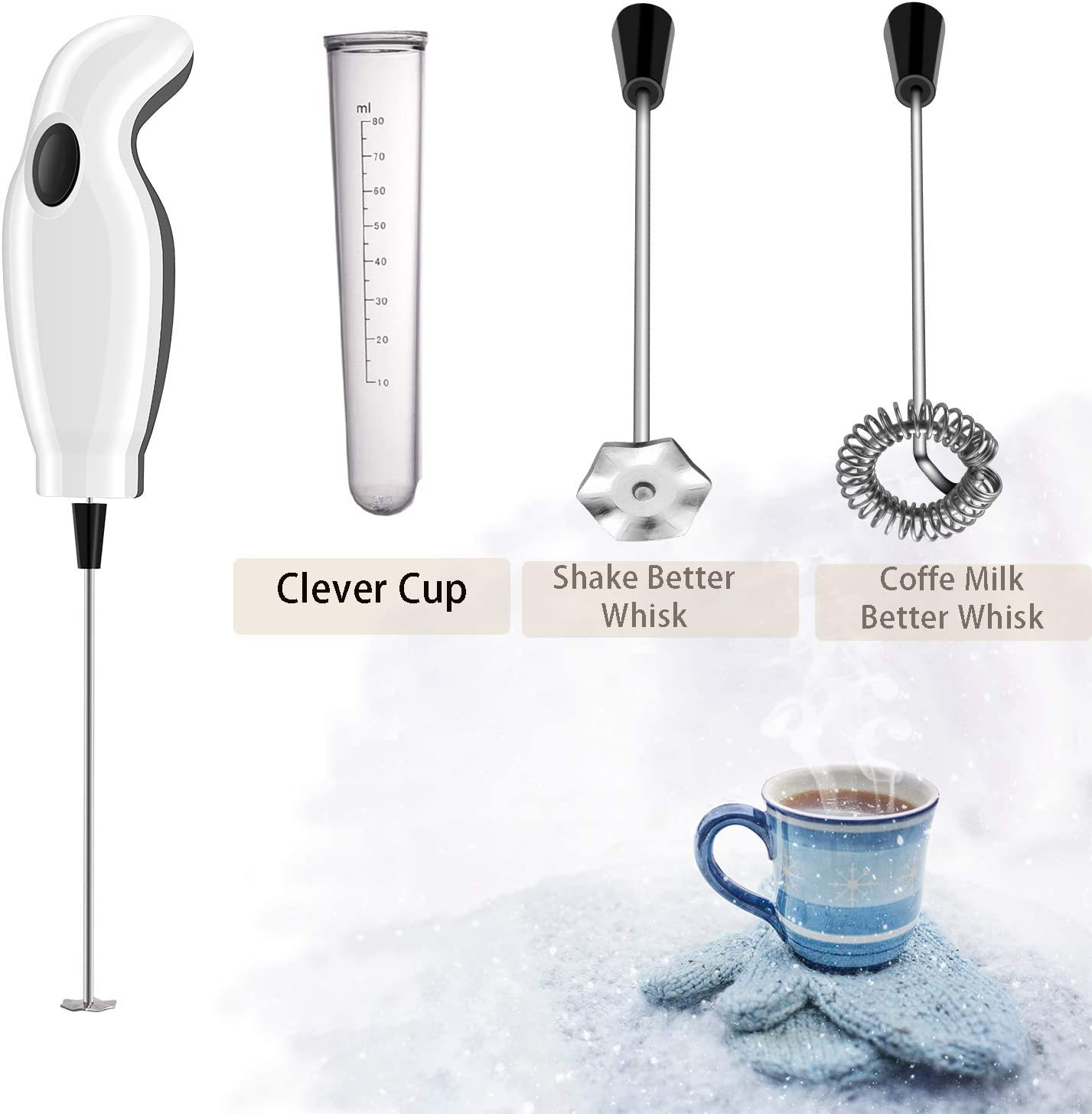 Handheld Electric Milk Frother Foamer For Coffee Latte Egg Mixer Easy Stirrer UK