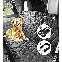 Wasserfest Autoschondecke, Winipet DO01-FBA 150 x 144cm Hundedecke Rückbank, Anti-Rutsch Schondecke Hund Auto mit Einem Kostenlosen Sicherheitsgurt und Tragetasche für Autos Trucks Van SUV