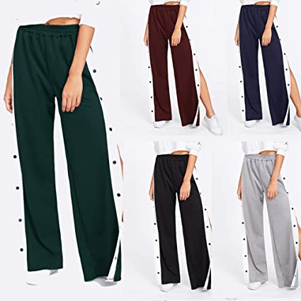 c9ca6b9ff39c8 Mujer Cintura Alta Pantalones Largo