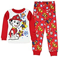 Paw Patrol Little Boys' Long Sleeve Cotton Pajama Sleepwear Set Red