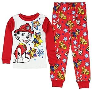 Paw Patrol Little Boys' Long Sleeve Cotton Pajama Sleepwear Set Red