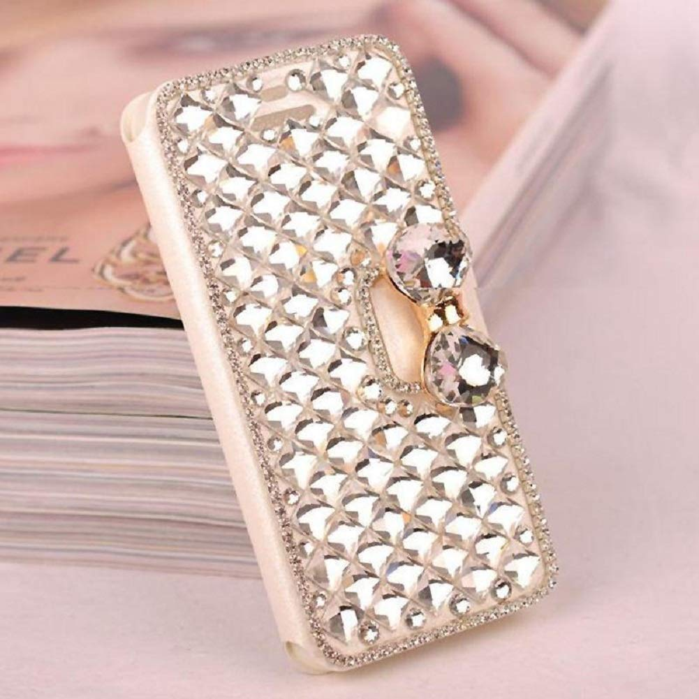 Amocase Wallet Leather Case with 2 in 1 Stylus for Samsung Galaxy S6 Edge,Luxury 3D Handmade Square Diamond Crystal Rhinestone Bowknot Stand Purse Leather Case for Samsung Galaxy S6 Edge - Clear by Amocase