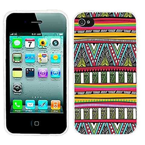 iPhone 4s Case Cute,iPhone 4 Case cool, ChiChiC full Protective unique Stylish Case slim durable Soft TPU Cases Cover for iPhone 4 4g 4s,geometric red yellow green olive sky tribal (Iphone 4 Case Artsy)