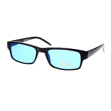 Amazon.com: Black Rectangle Frame Blue Lens Sunglasses Spring Hinge ...