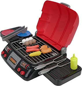 Christoy Portable Mini Pretend BBQ Set Rotisserie and Grill Barbecue Pretend Play Food with Pretend Smoke Sound Light Kitchen Playset for Toddlers Children Boys Girls.