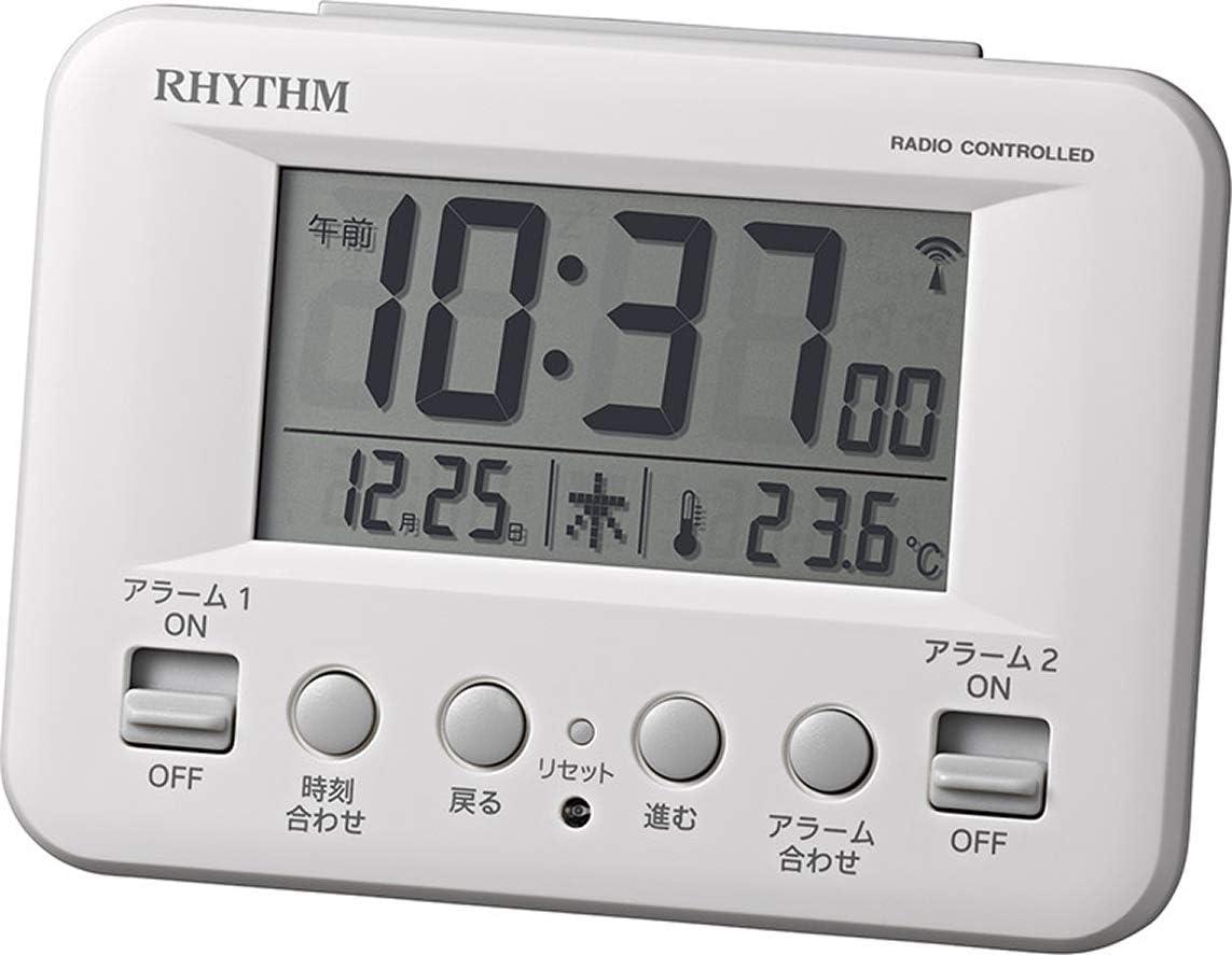 リズム時計 目覚まし時計 電波 デジタル フィットウェーブD191 暗所 自動 点灯 カレンダー 温度計 付き ダブル アラーム 白 RHYTHM 8RZ191SR03