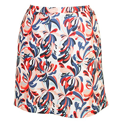 - Monterey Club Ladies Dry Swing Water Fountain Print Pull-on Skort #2917 (White/Navy, 2X-Large)