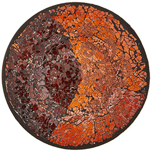 Up Words by Pavilion Rootbeer Color Mosaic Glass Candle Plate, 8-Inch -