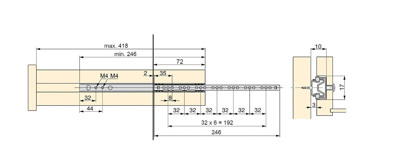 Emuca - Guías correderas con rodamiento de bolas para cajones, guías de extracción parcial para cajonera, 17mm x 374mm, Lote de 5 juegos