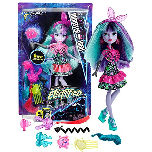 My Monster High Costumes (Mattel Year 2016 Monster High Electrified Series 11 Inch Doll Set - Daughter of the Boogey Man TWYLA with 6 Hair Accessories and Electric Monster)