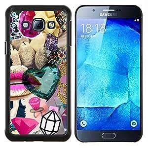 TECHCASE---Cubierta de la caja de protección para la piel dura ** Samsung Galaxy A8 ( A8000 ) ** --La joya del diamante de Bling del oro abstracta