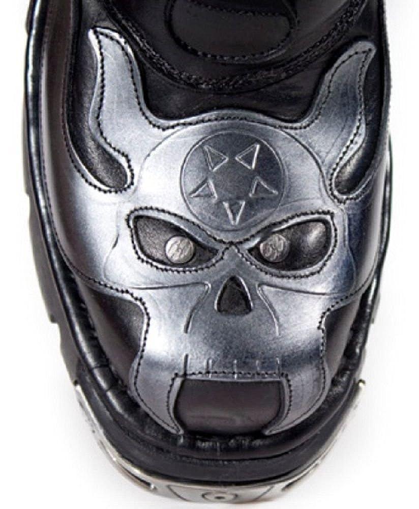 Smart Range Rock 107-S2 Silber SCHÄDEL Devil Devil Devil METALLIC schwarz ECHT Leder Stiefel Biker Stiefel d682b6