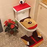 Reindeer Toilet Seat Cover and Rug Set for Bathroom Christmas Decorations Set of 3