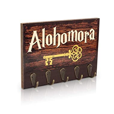 getDigital Alohomora Key Rack, Inspired by The Magical World of Harry Potter | Home & Office Decor Key Holder with 5 Metal Hooks | Also Suitable as a Hanger for Clothes, Bags or Dog leashes