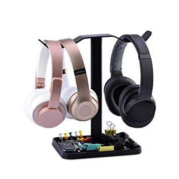Neetto Soporte para Auriculares Dobles de Mesa, Soporte de Auriculares para Sennheiser, Sony,