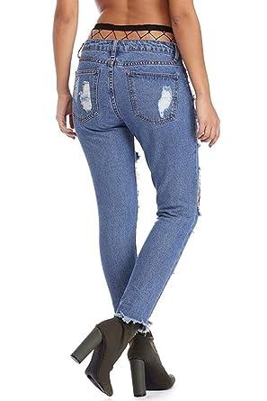 HaiDean Blue Jeans Agujeros Pantalones Rasgados Pantalones Vaqueros Pantalón Lápiz Modernas Casual De Cintura Alta Pantalones con Botones Mocasines ...