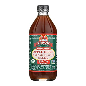 Bragg Organic Apple Cider Vinegar Blends with Honey 16 Oz – USDA Certified Organic – Raw, Unfiltered – With the Mother