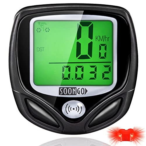 SOONGO Cadeau Lumière de Vélo Compteur Velo sans Fils Compteur Vitesse Velo Imperméable Multifonctionnel Rétroéclairage à Grand écran LCD