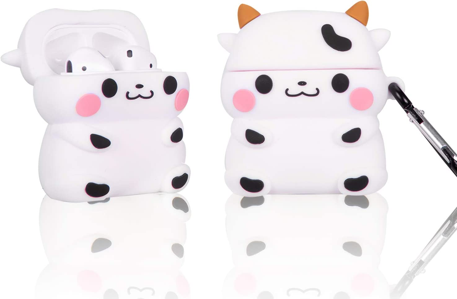 Cow for Airpods 1/2 case Cover, Silicone 3D Cool Cute Kawaii Funny Cartoon Cover Design for Girls Boys Women Men,Airpod 1/2 Skin Accessories for Apple Charging Cases with Keychain (Cow)