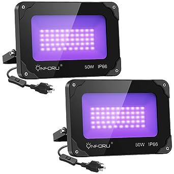 IP66 for Blacklight Flood Light with Plug Onforu 2 Pack 60W LED Black Lights
