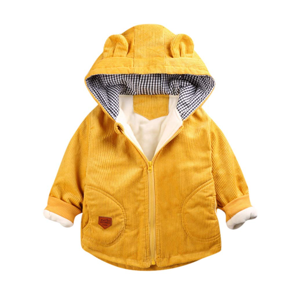 Vicbovo Clearance Baby Boys Girls Coats Long Sleeve Cotton Jacket Toddler Zip-up Hoodies Sweatshirt Winter Warm Outerwear (Yellow, 6-12Months) by Vicbovo Clearance