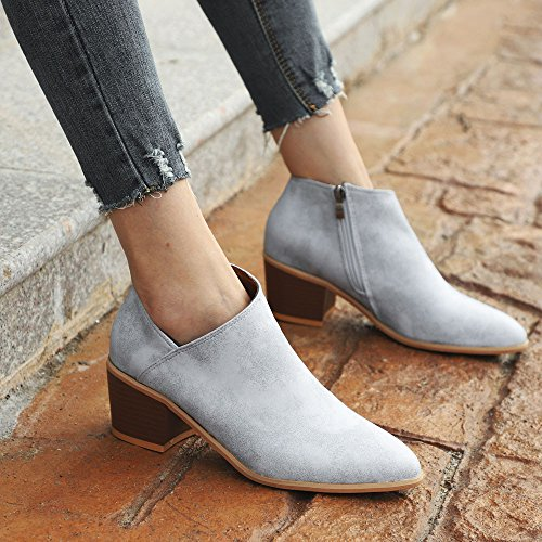 Zip Martin Leather Light Blue Shallow Shoes Wedges Casual Clearance Solid Women Ankle Retro Boots Warm Winter for Comfort Sunday77 Adults Boots Ladies qXwwxRa
