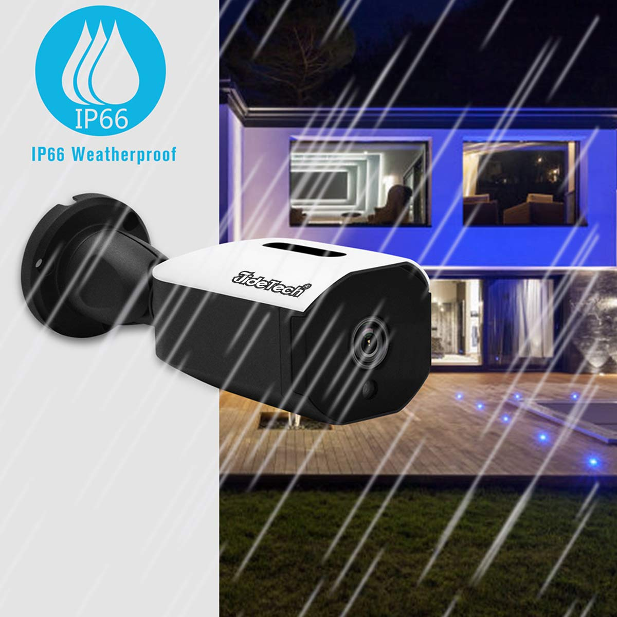 POE IP Security Camera 1080P Waterproof IP66 Infrared Night Vision 65FT Support ONVIF JideTech B01-2MP Outdoor Surveillance Security Camera Power Over Ethernet