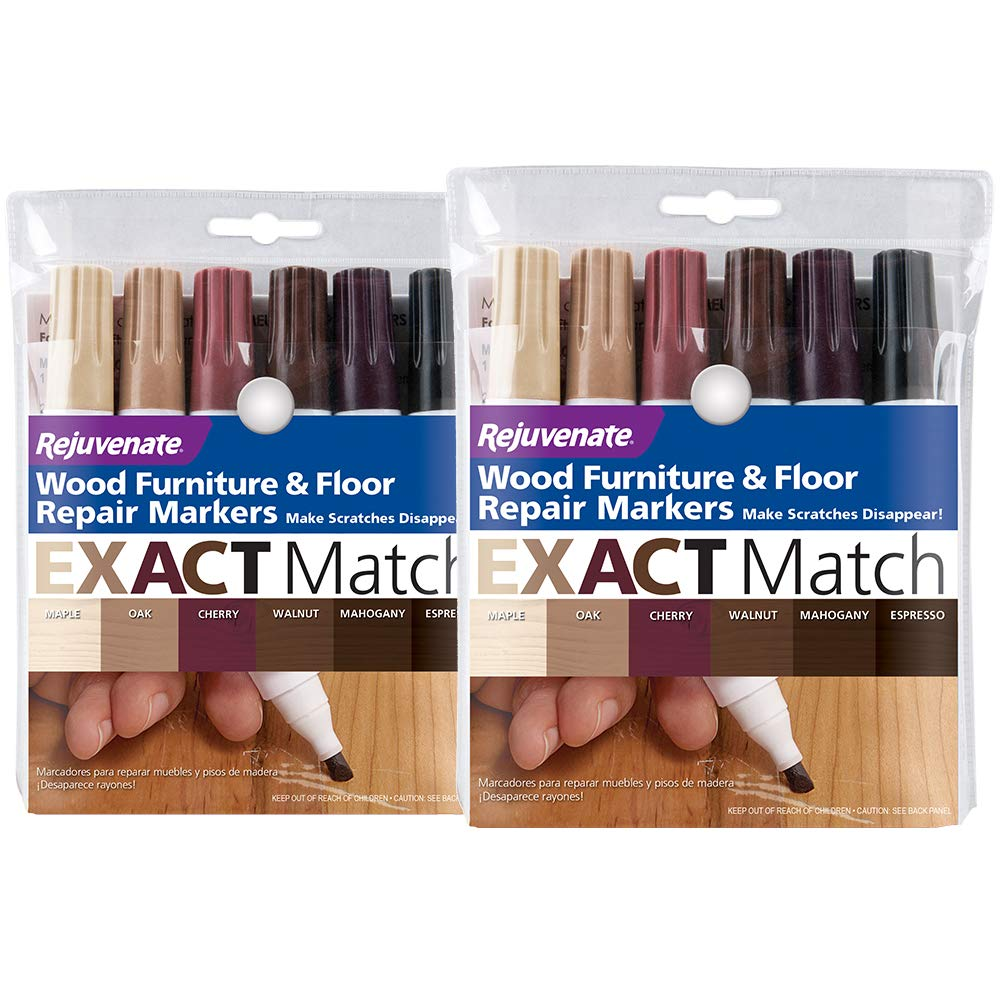 Rejuvenate New Improved Colors Wood Furniture & Floor Repair Markers Make Scratches Disappear in Any Color Wood Combination of 6 Colors Maple Oak Cherry Walnut Mahogany and Espresso by Rejuvenate