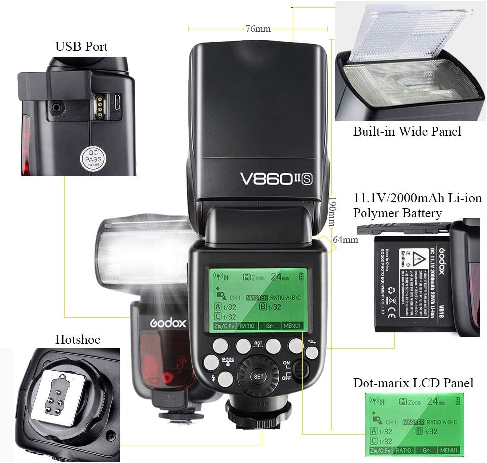 GODOX V860II-S TTL Camera Flash 2.4G 1//8000s HSS GN60 with Lithium Battery External Flash Speedlight for Sony Cameras V860II-S