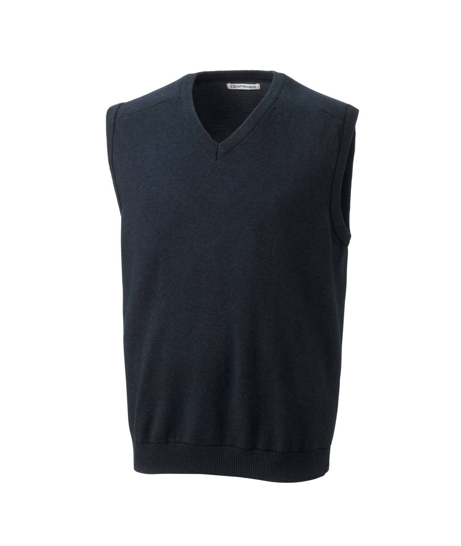 Cutter & Buck Men's Broadview Sweater Vest, Navy Blue Heather, X-Large