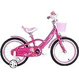 """Axdwfd 子ども用自転車 14""""3-6歳の女の子37"""" - 45""""インチの子供用自転車、トレーニングホイールコースターブレーキ付きの王女の自転車、子供用サイクリング、85%組み立て済み"""