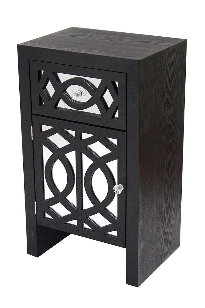Heather Ann Creations The Ellington Collection Modern Style Mirrored Tall 1 Drawer 1 Door Bedroom Accent Storage Cabinet, Black