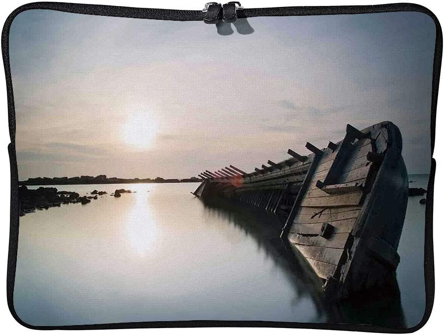 C COABALLA Ocean Decor,Big Sinking Rustic Boat Crash in Laptop Sleeve Case Neoprene Carrying Bag for Any Tablet//Notebook AM024943 10 inch//10.1 inch