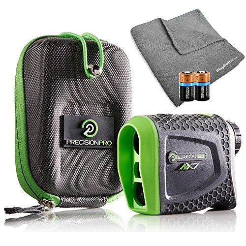 Precision Pro NX7 (Standard Version) Golf Rangefinder Bundle with Carrying Case, Carabiner Clip, PlayBetter Microfiber Towel and Two (2) CR2 Batteries by PlayBetter
