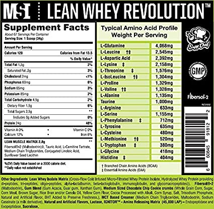 MuscleSport Lean Whey Revolution Protein Powder, Whey Protein Isolate, Fat  Burning, Weight Loss,