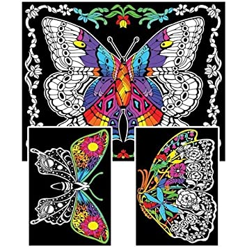 Geo Butterfly - 23x20 Fuzzy Velvet Coloring Poster: Amazon.co.uk ...